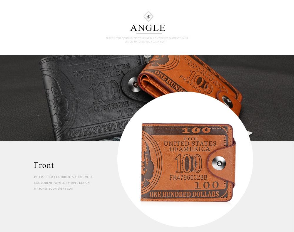 Guapabien Cash Pattern Design Genuine Leather Short Wallet for Men