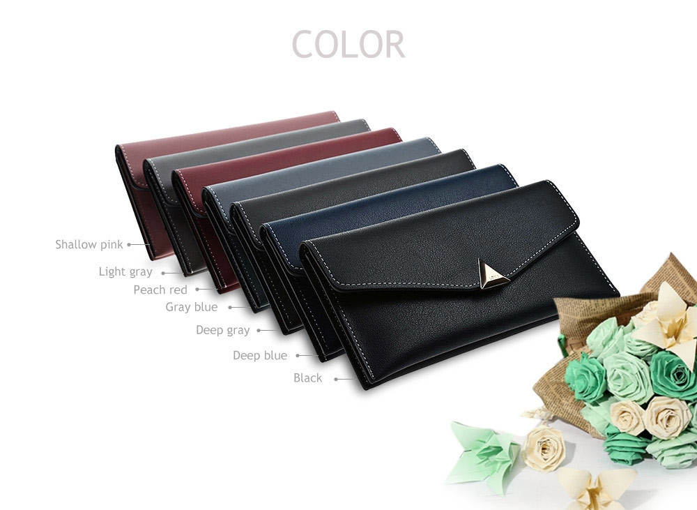 Guapabien Soft PU Leather Day Clutch Snap Fastener Women Long Wallet