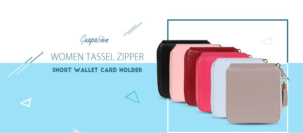 Guapabien Women Zipper Tassels Short Purse Bifold Solid Wallet Small Clutch