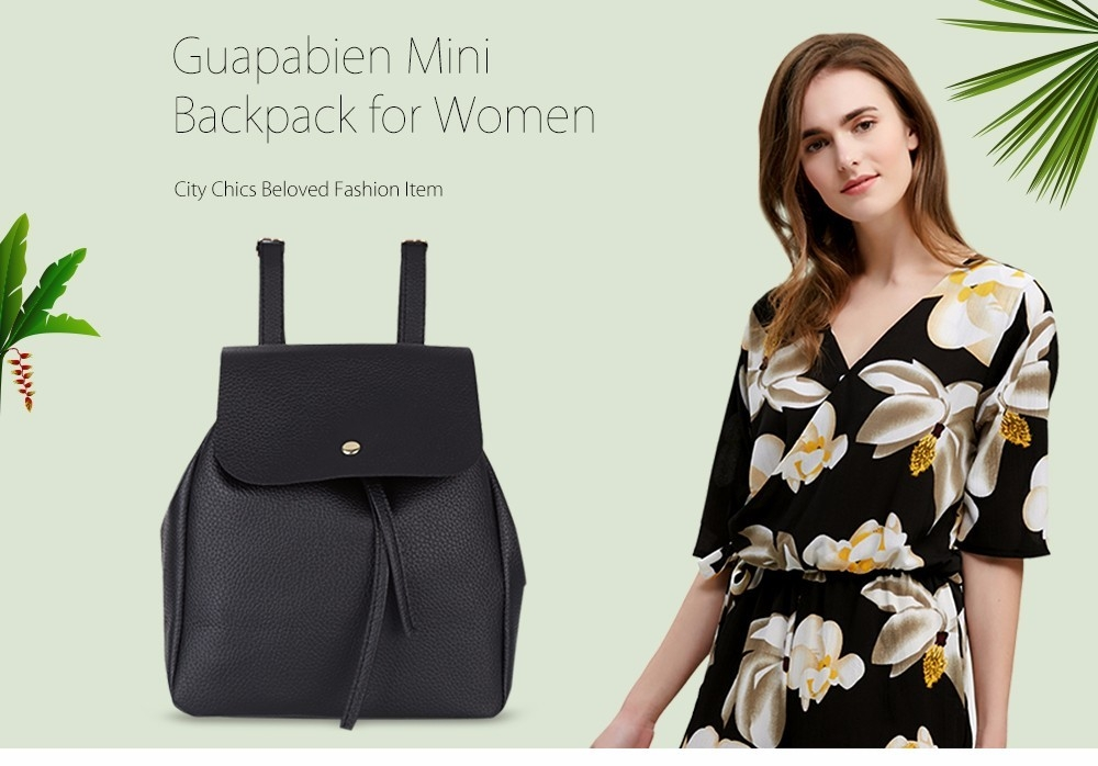 Guapabien Preppy Style Litchi Print Mini Backpack Shoulders Bag for Women