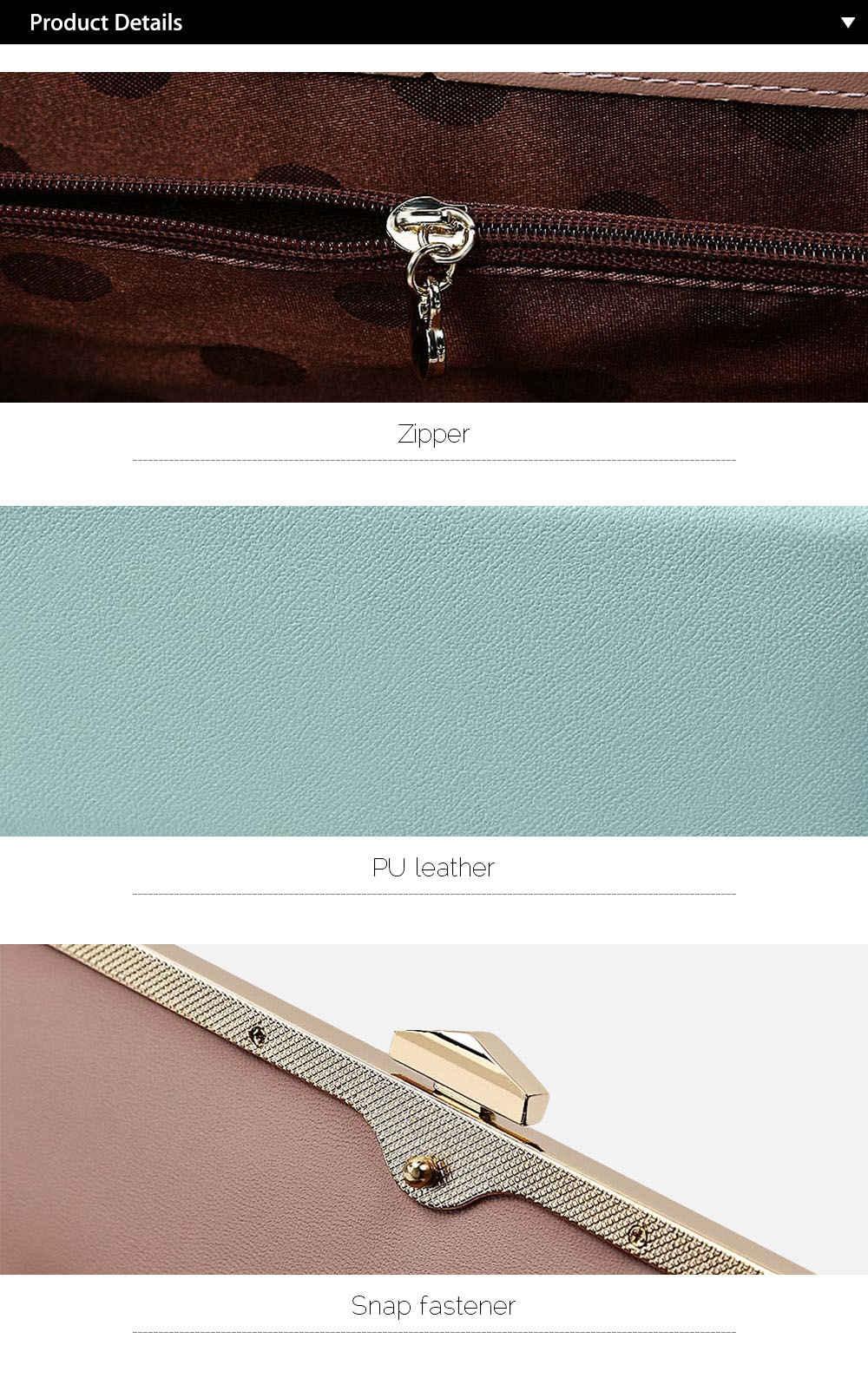 Fashionable Women Long Design Snap Fastener Card Holder Clutch Wallet
