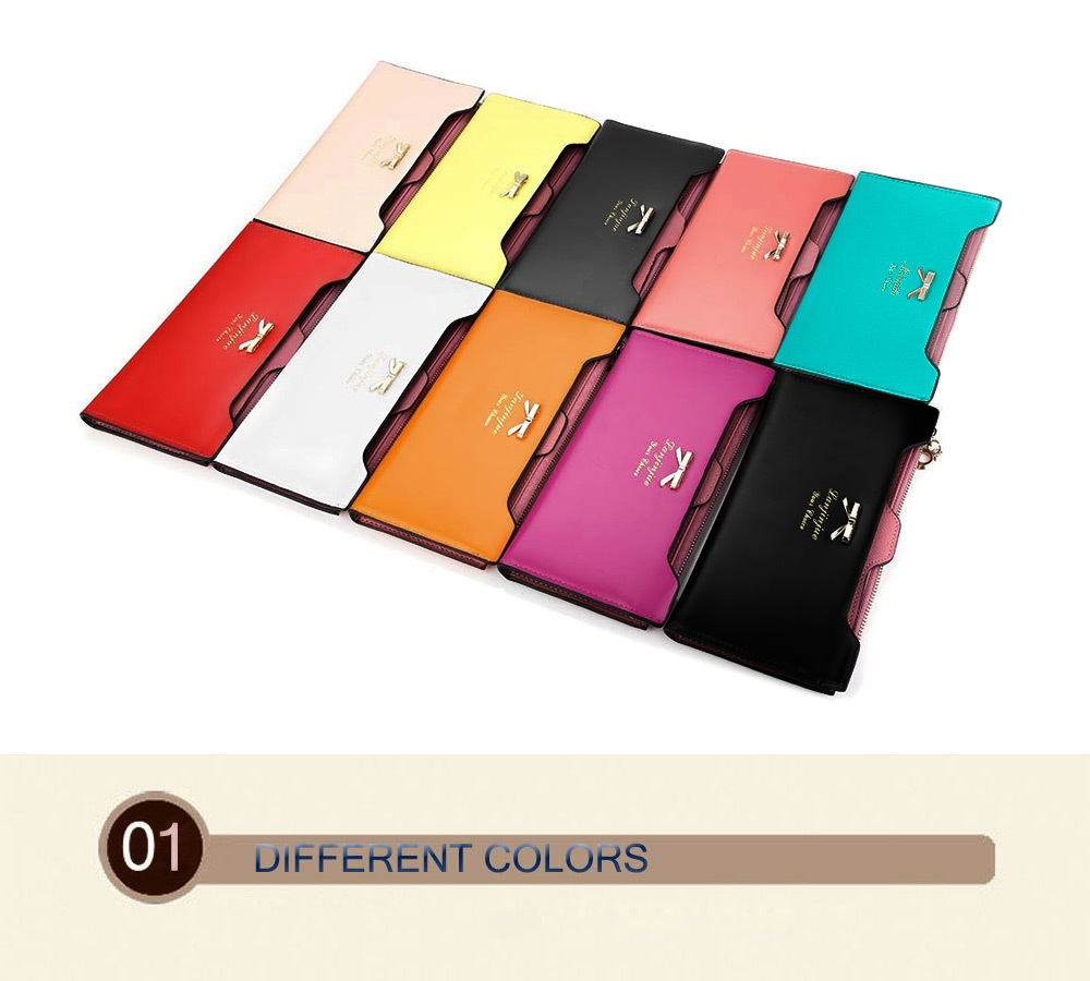 Guapabien Bowknot Letter Solid Color Hasp Zipper Horizontal Long Wallet
