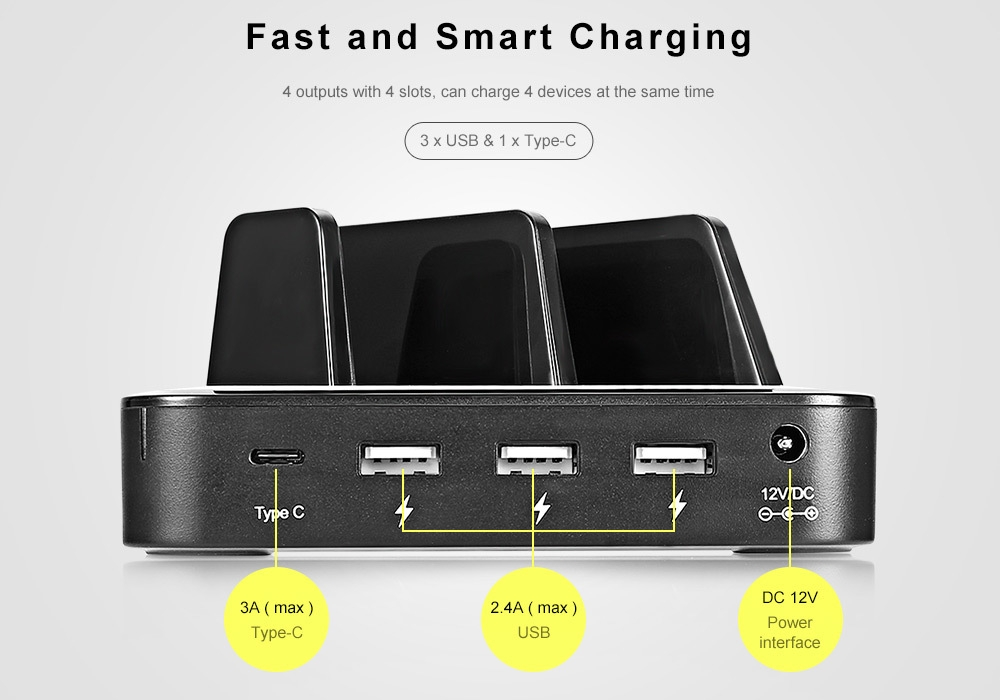 Hawk S400 Multifunctional 36W Power 3-port USB + Type-C Charging Station for Multiple Mobile Devices
