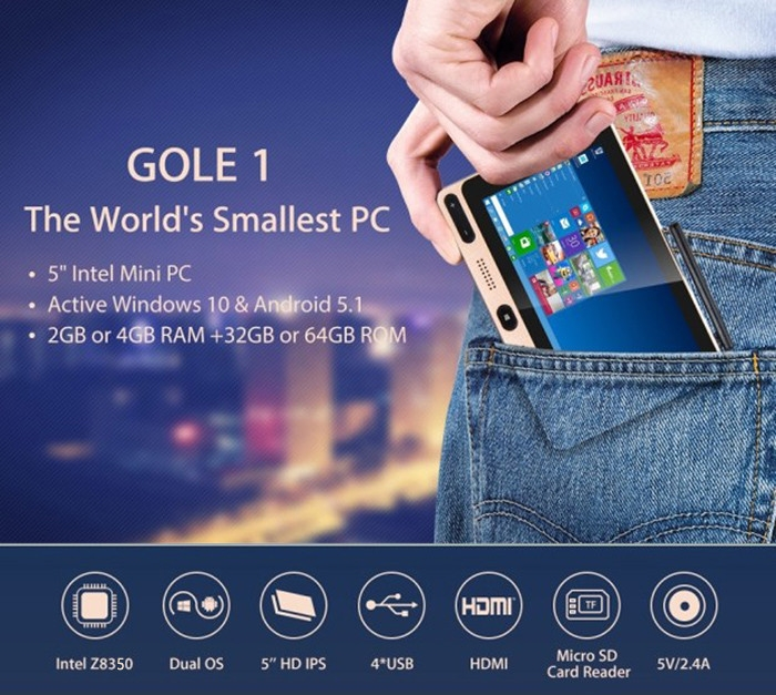 HIGOLE GOLE1 5 inch 720 x 1280 Pixels Mini PC Intel Cherry Trail Z8350 Quad-core Windows 10 / Android 5.1 BT 4.0 2.4GHz / 5GHz WiFi 4K Box