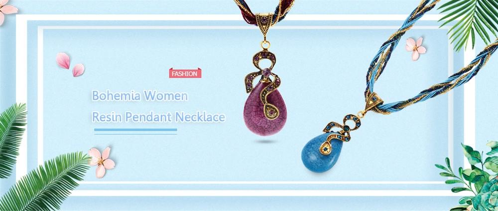 Bohemia Women Resin Pendant Necklace