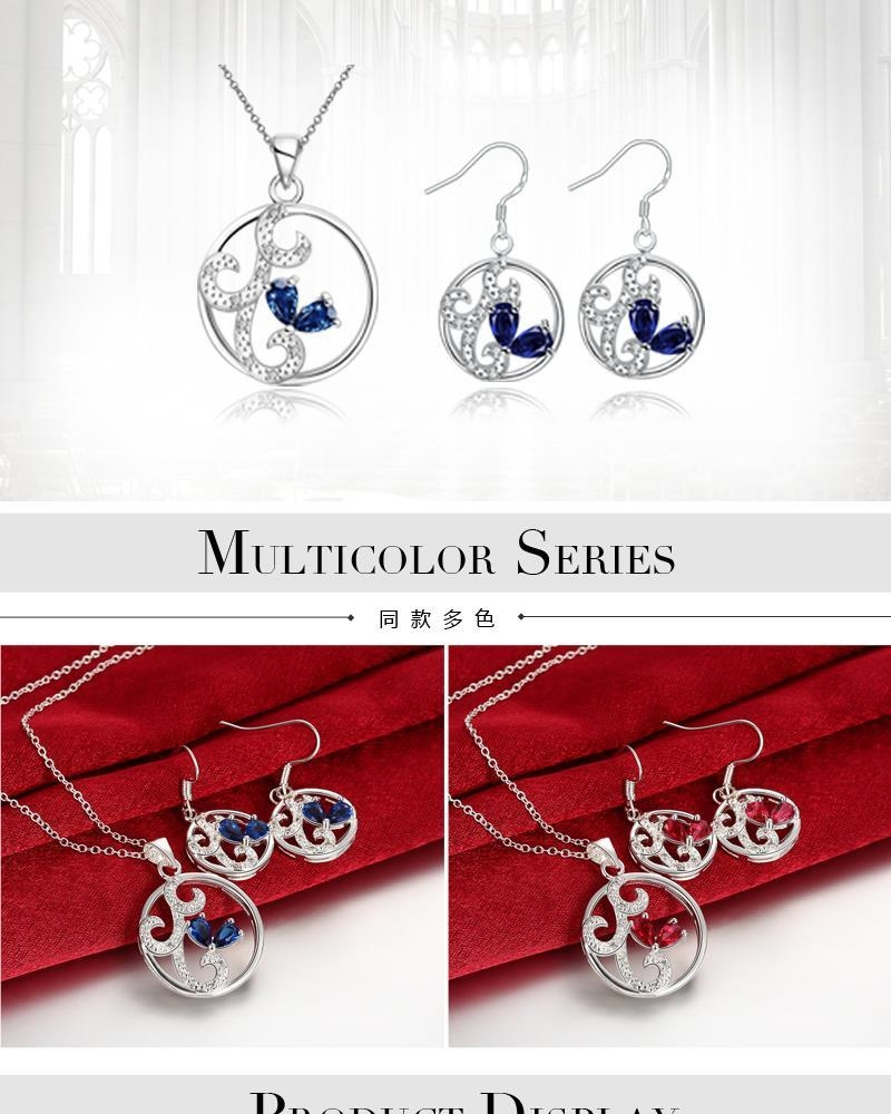 S117-A 925 Silver Plated Necklace Earrings Jewelry Sets