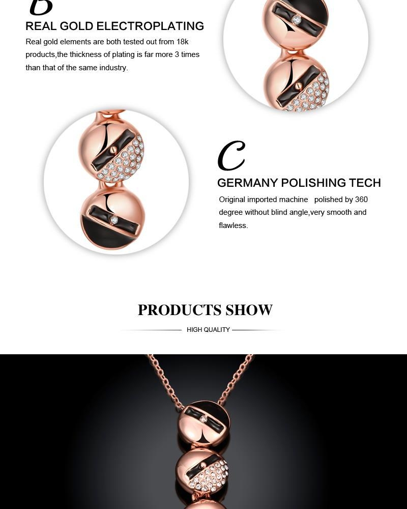 N922-C Rose Gold Plated Long Style Circle Pendant Necklace