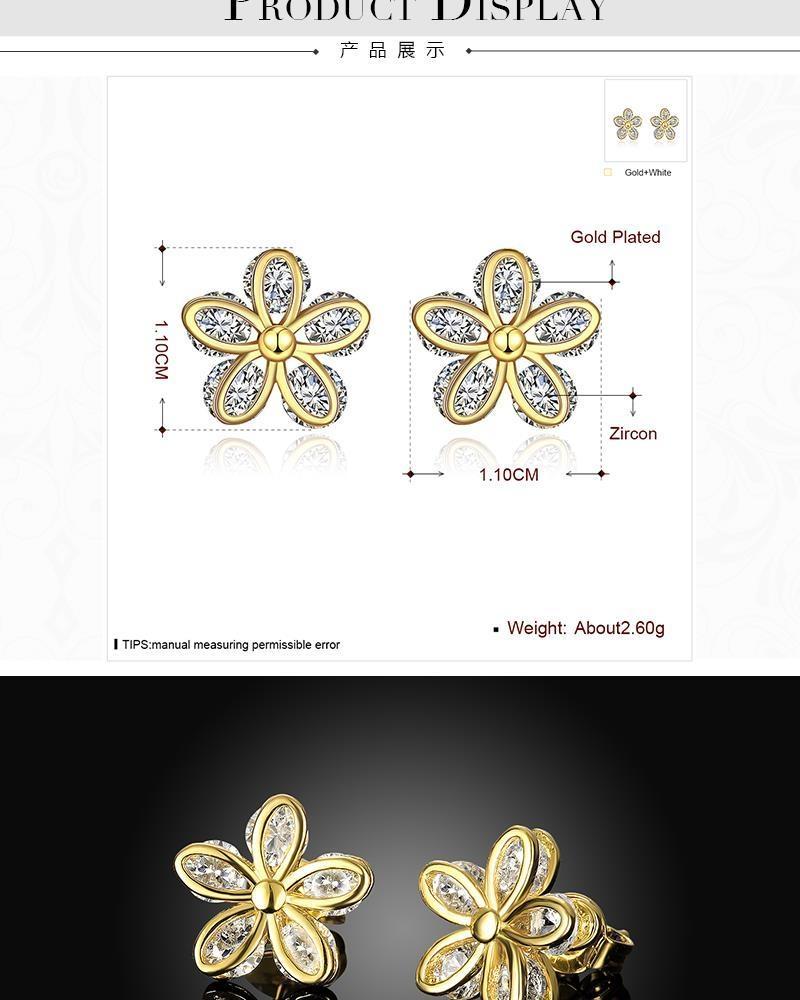 S093-A Fashion 18K Environmental Alloy Anti Allergy Zircon Necklace Earrings Jewelry Set