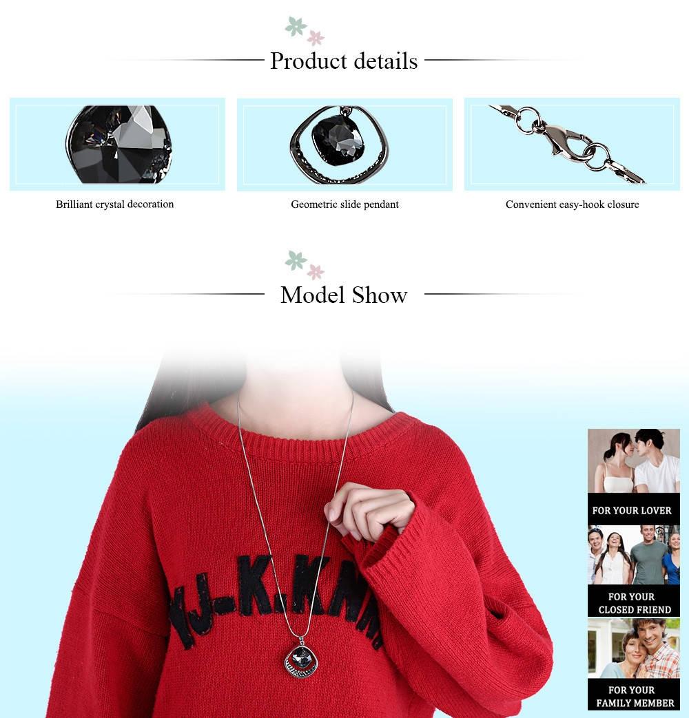 Women Geometric Pattern Crystal Embellishment Pendant Necklace Sweater Chain