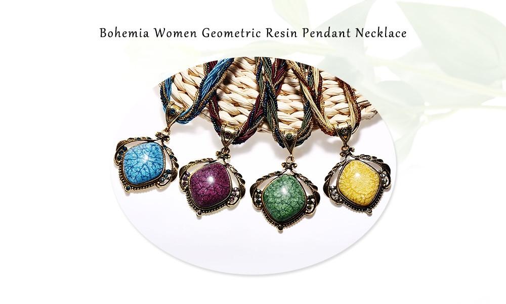Bohemia Women Geometric Resin Pendant Necklace