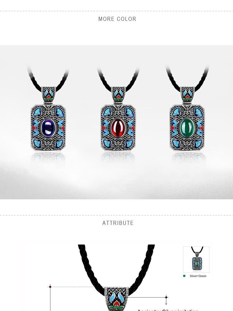 N004-C Ladies National Style Rectangle Shape Pendant Necklace