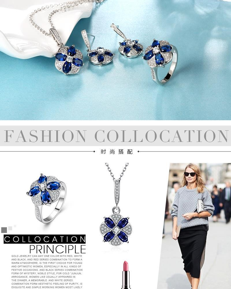S098-A Trendy Alloy Anti Allergy Zircon Floral Earrings Necklace Ring Jewelry Set