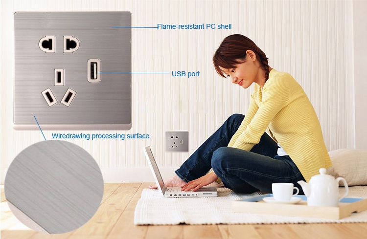 USB Port Wall Socket Flame-resistant PC Shell UK / EU / US Outlet Adapter ( AC 250V 10A )
