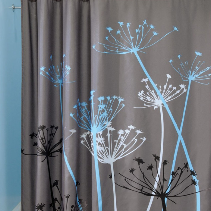 3D Waterproof Polyester Shower Curtain Dandelion Pattern with 12 Plastic Hooks