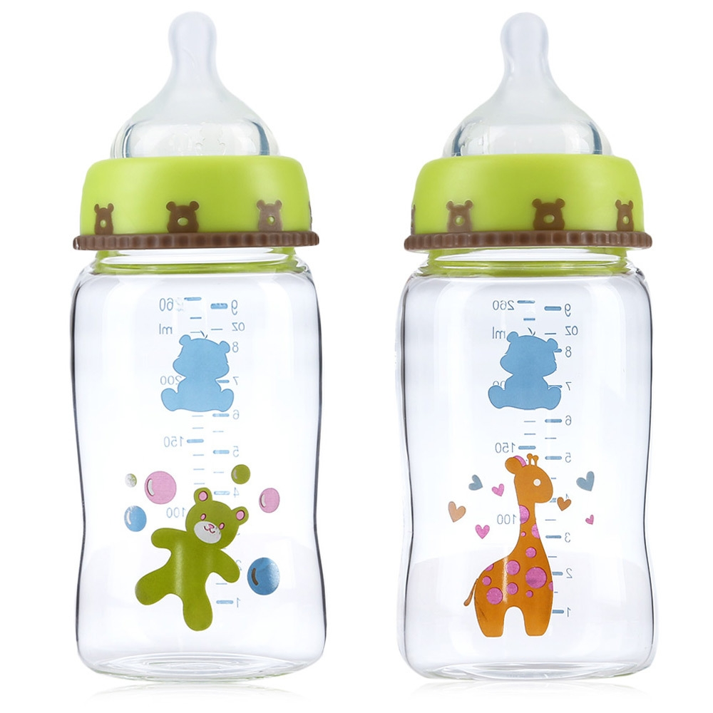 Snow Bear Cute Cartoon Animal Print 260ml Lip Simulation Wide Neck Glass Feeding Bottle