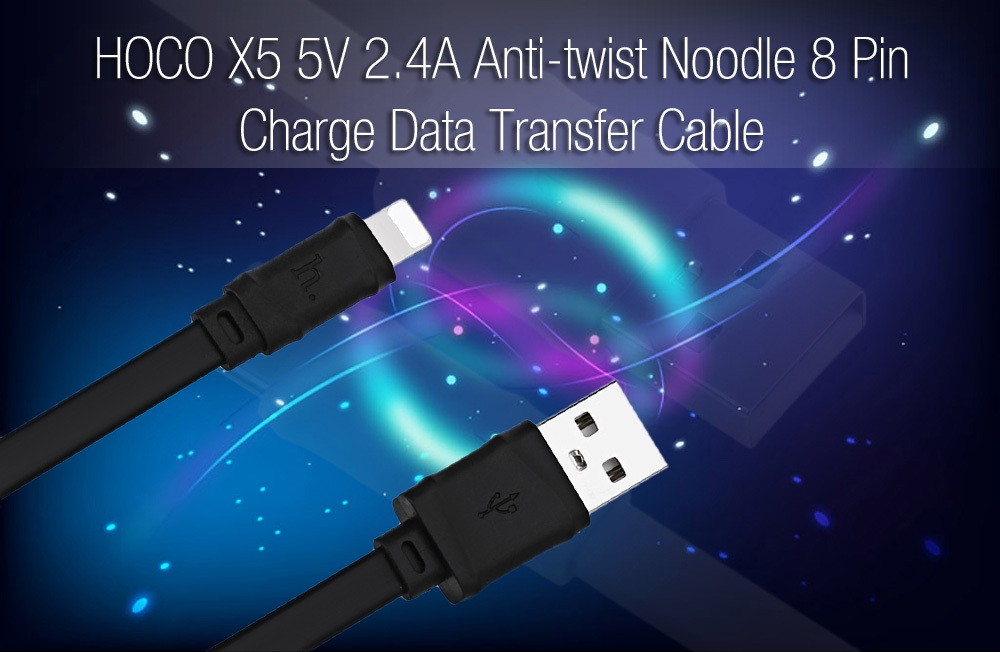 HOCO X5 5V 2.4A 8 Pin Anti-twist Noodle Charge Data Transfer Cable 1M
