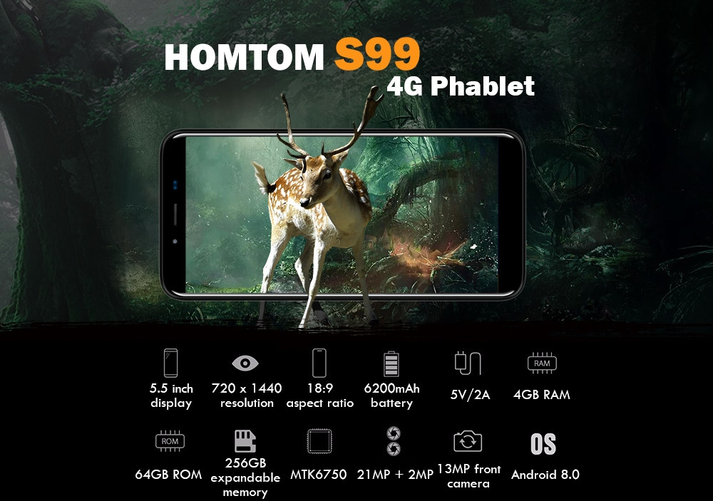 HOMTOM S99 4G Phablet 5.5 inch Android 8.0 MTK6750