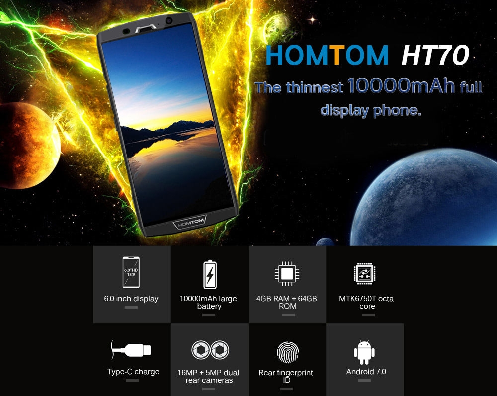 HOMTOM HT70 4G Phablet 6.0 inch Android 7.0 MTK6750T Octa Core 1.5GHz 4GB RAM 64GB ROM Dual Rear Cameras 10000mAh Battery