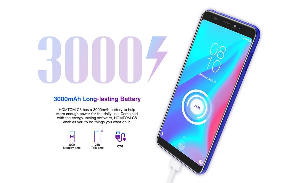 HOMTOM C8 4G Phablet 5.5 inch Android 8.1 MTK6739 Quad Core 1.3GHz 2GB RAM 16GB ROM 13.0MP + 2.0MP Rear Camera Fingerprint Sensor Face ID 3000mAh Built-in