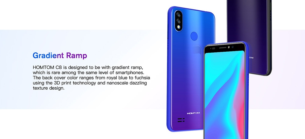 HOMTOM C8 4G Phablet 5.5 inch Android 8.1 MTK6739 Quad Core 1.3GHz 2GB RAM 16GB ROM 13.0MP + 2.0MP Rear Camera Fingerprint Sensor Face ID 3000mAh Built-in