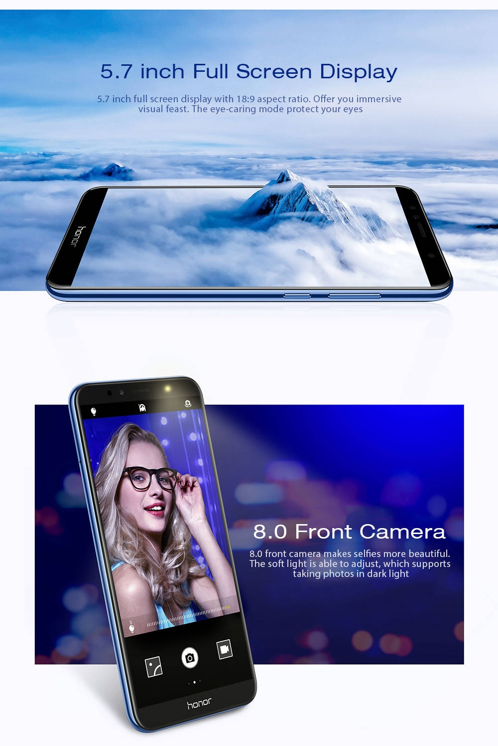 HUAWEI Honor 7A 4G Phablet 5.7 inch Android 8.0 Qualcomm Snapdragon 430 Octa Core 1.4GHz 3GB RAM 32GB ROM OTG OTA