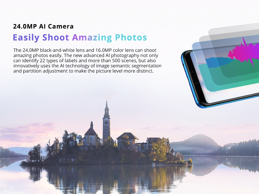HUAWEI Honor 10 5.84 Inch Smartphone Kirin 970 6GB 64GB 16.0MP+24.0MP Dual Rear Cameras Android 8.1 FHD+ Screen OTG Touch ID Type-C - Black