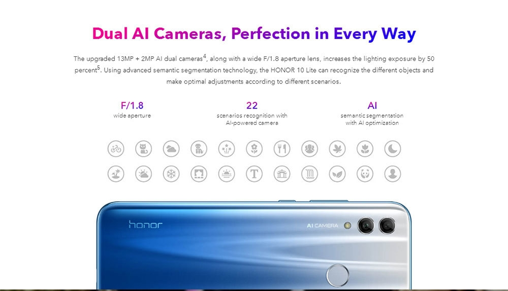 HUAWEI Honor 10 Lite ( HRY - LX1MEB ) 4G Phablet 6.21 inch Android 9.0 ( Pie ) EMUI 9 Hisilicon Kirin 710 Octa Core 2.2GHz 3GB RAM 64GB ROM 13.0MP + 2.0MP Rear Camera Fingerprint Sensor 3400mAh Built-in