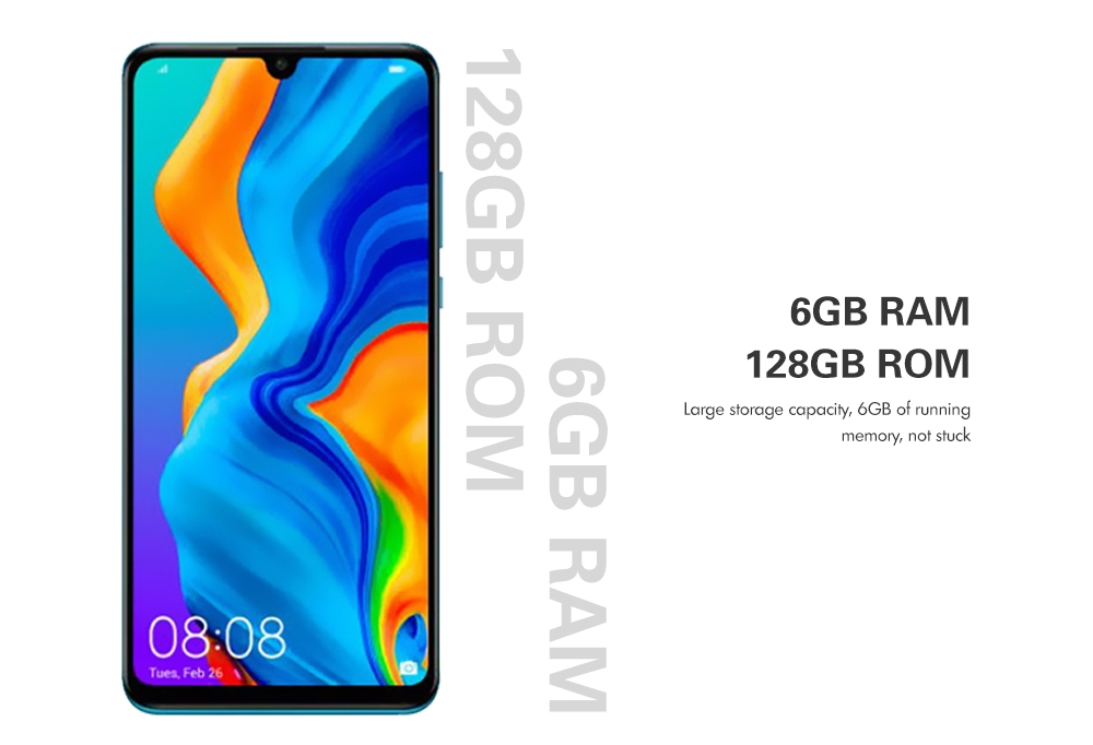 HUAWEI P30 Lite 4G Phablet 6.15 inch EMUI 9.0.1 ( Android 9.0 ) Kirin 710 6GB RAM 128GB ROM 24.0MP + 8.0MP + 2.0MP Rear Camera 3340mAh Battery