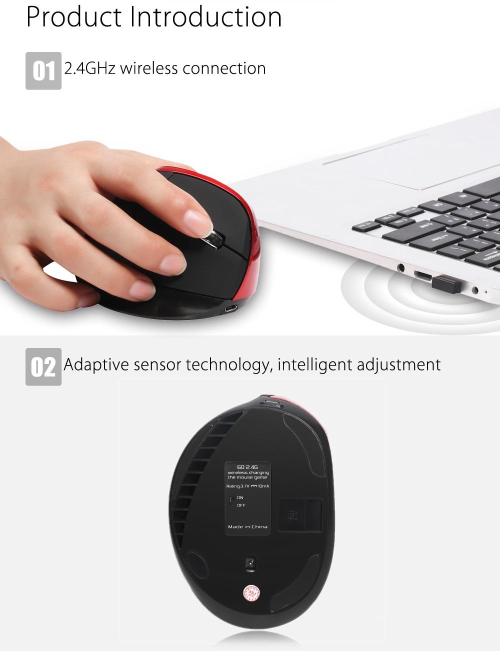 HXSJ X60 6D Wireless Gaming Ergonomic Design Optical Vertical 2400DPI Mouse