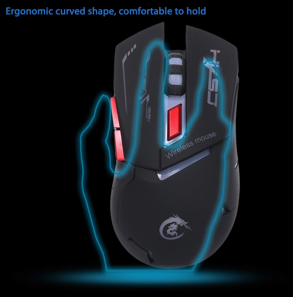HXSJ X30 2400DPI 2.4GHz Wireless Optical Backlit Game Mouse with USB Receiver