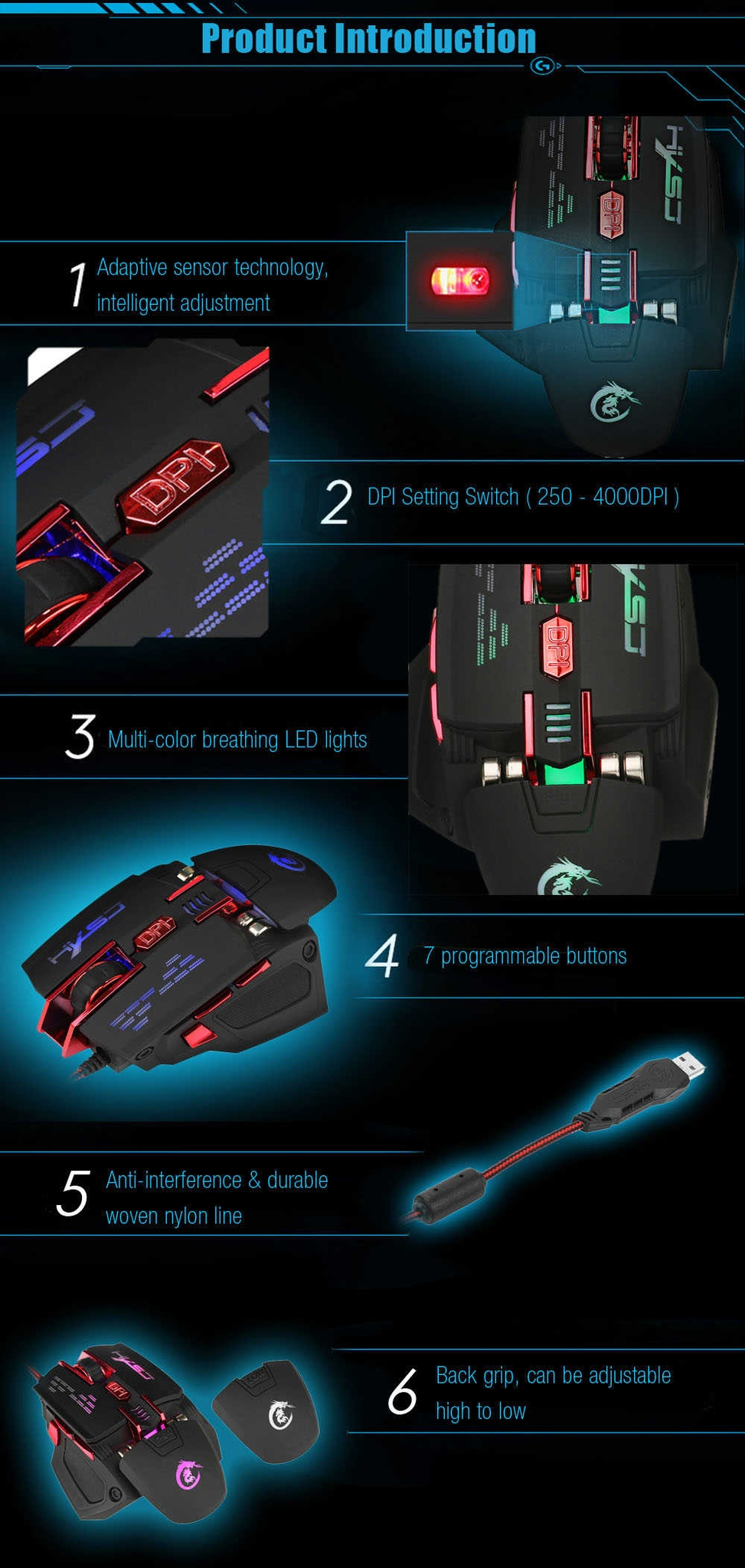 HXSJ X200 Optical 7D USB Wired Programmable Macro Gaming Mouse with LED Backlight