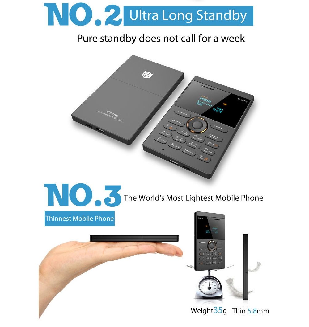 iFcane E1 Quad Band un-locked Mini Card Phone Bluetooth 2.0 MP3 FM Alarm Clock