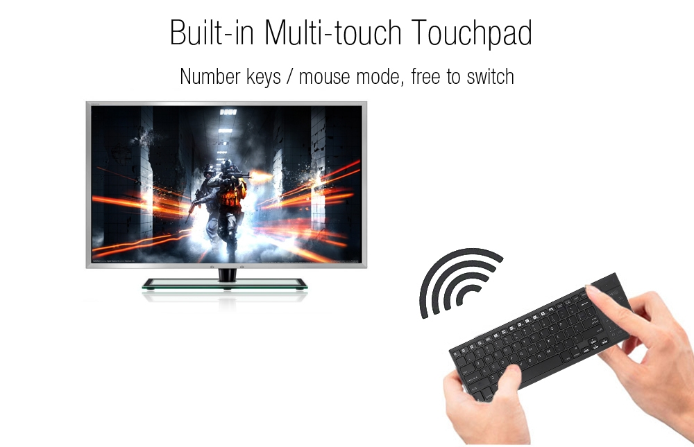 iPazzPort KP - 810 - 35BTT Wireless Bluetooth Backlight Keyboard Touchpad