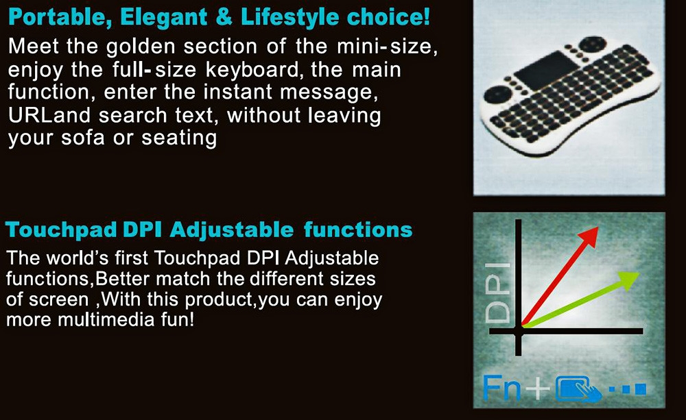 iPazzPort KP - 810 - 21 2.4GHz Mini I8 Multifunction Portable Wireless QWERTY Keyboard with Touchpad Mouse