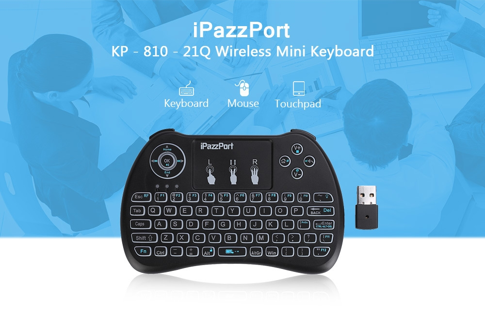 iPazzPort KP - 810 - 21Q Wireless Mini Keyboard Backlight Function with Touchpad