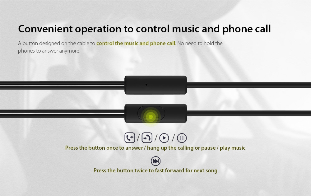 origin-al J-BL C100SI 3.5mm Wired In-line Earphone Stereo Earbuds with Mic and In-line Control