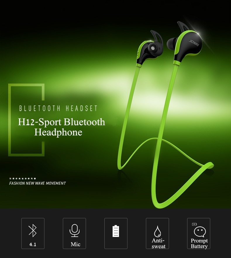 JOWAY H12 Sport Wireless Bluetooth V4 1 In Ear Earphone With Mic Earbuds  Universal For Mobile Phones TPE Flat Cable (Green)