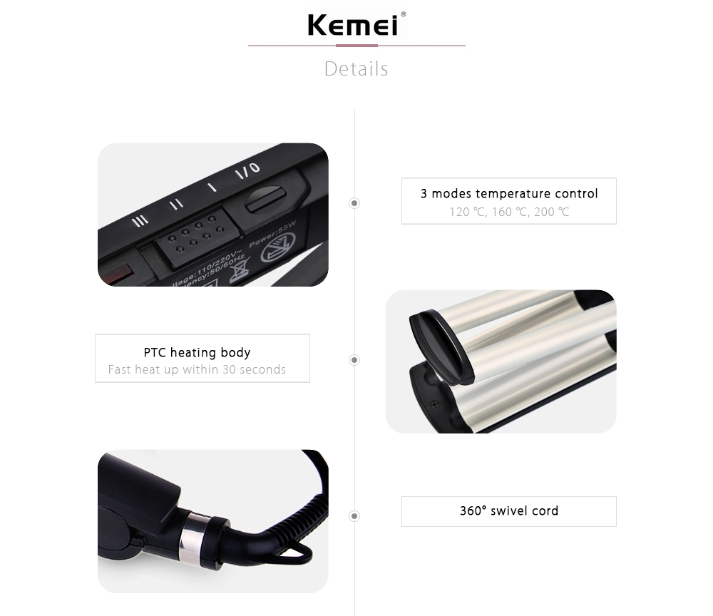 Km 2022 Electric Ceramic Curler With Three Perm Rolls