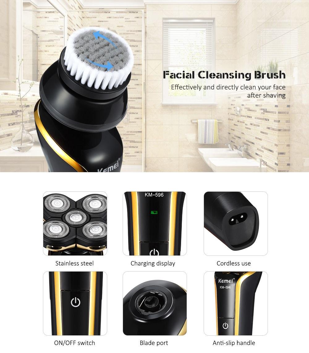 Kemei KM - 596 Wet / Dry 4 in 1 Men 4D Electric Shaver Razor