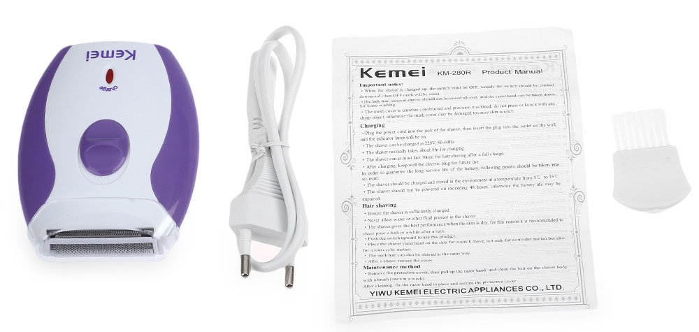 Kemei KM - 280R Mini Rechargeable Electric Hair Remover Shaver for Women