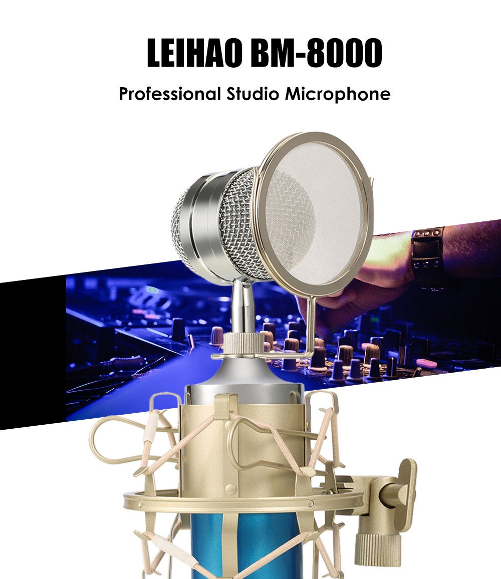 LEIHAO BM - 8000 Professional Sound Studio Recording Condenser Microphone with 3.5mm Plug Stand Holder