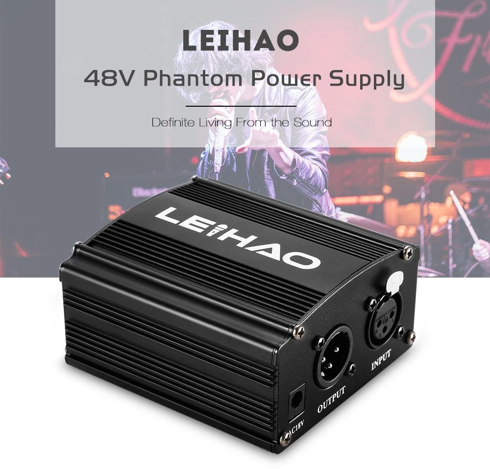 LEIHAO 48V Phantom Power Supply for Condenser Microphone Music Recording Equipment