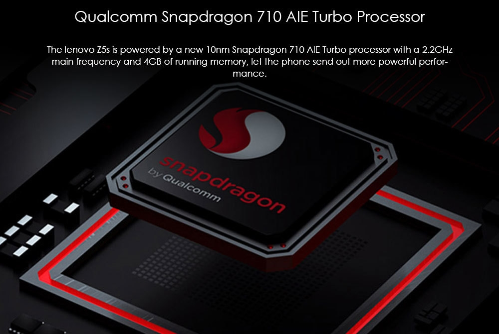 Lenovo Z5s 4G Phablet 6.3 inch Android P QualcommSnapdragon 710 Octa Core 4GB RAM 64GB ROM 16.0MP Front Camera Fingerprint Sensor 3300mAh Built-in