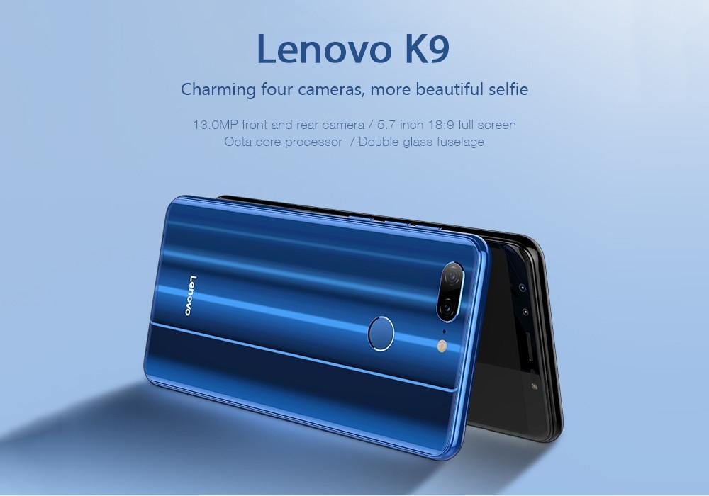 Lenovo K9 4G Phablet 5.7 inch Android 8.1 MTK6762 Octa Core 2.0GHz 4GB RAM 32GB ROM Quad Camera Fingerprint Sensor 3000mAh Built-in