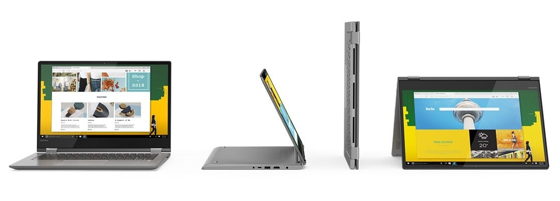 Lenovo Yoga 530 stylish 2-in-1 laptop, shown in all four modes from front