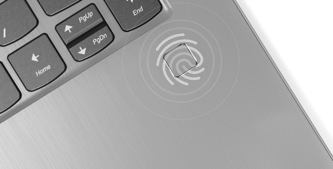 Lenovo Yoga 530 stylish 2-in-1 laptop -- close-up of fingerprint reader