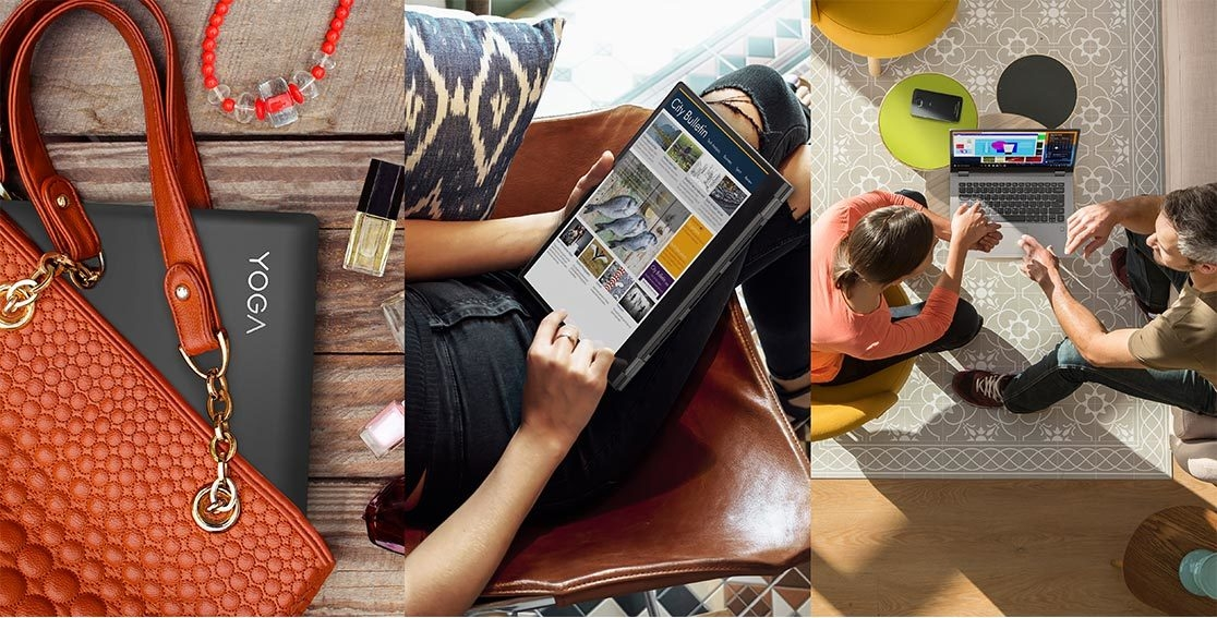 Lenovo Yoga 530 stylish 2-in-1 laptop, shown in purse, on lap, and on table between two people