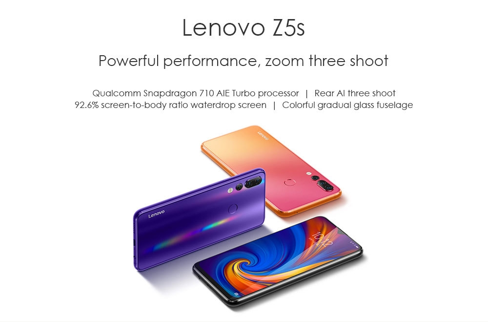 Lenovo Z5s 4G Phablet 6.3 inch Android P Qualcomm Snapdragon 710 Octa Core 4GB RAM 64GB ROM 16.0MP Front Camera Fingerprint Sensor 3300mAh Built-in