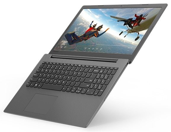 Lenovo Ideapad 130 (15), right top angle view, open 180 degrees.