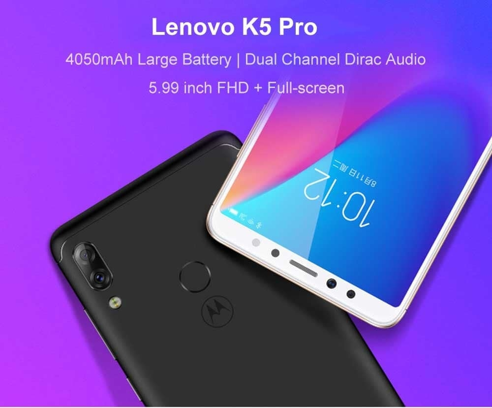 Lenovo K5 Pro 4G Phablet 5.99 inch Android 8.1 / ZUI Snapdragon 636 Octa Core 1.8GHz 6GB RAM 64GB ROM 16.0MP + 5.0MP Front Camera Fingerprint Sensor 4050mAh Built-in- Black